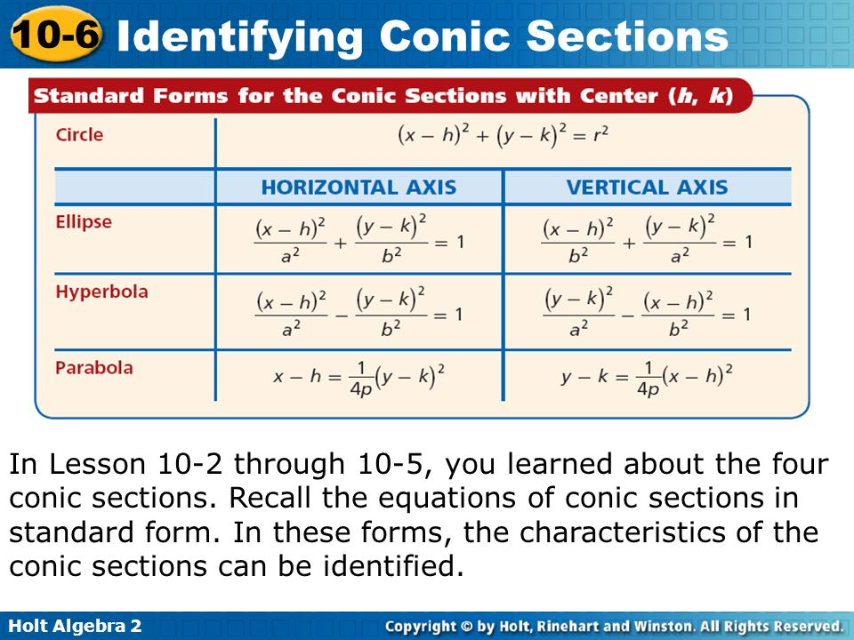 Holt Algebra 2 10-6 Identifying Conic Sections In Lesson 10-2 through 10-5, you learned about the four conic sections. Recall the equations of conic s