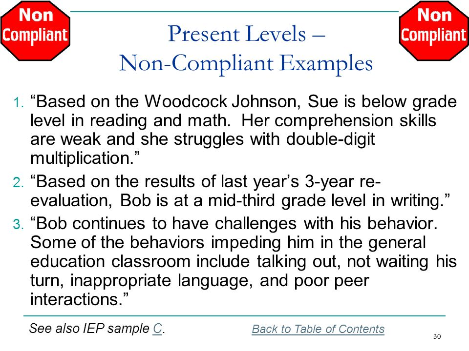 30 Present Levels – Non-Compliant Examples 1. Based on the Woodcock Johnson, Sue is below grade level in reading and math. Her comprehension skills ar