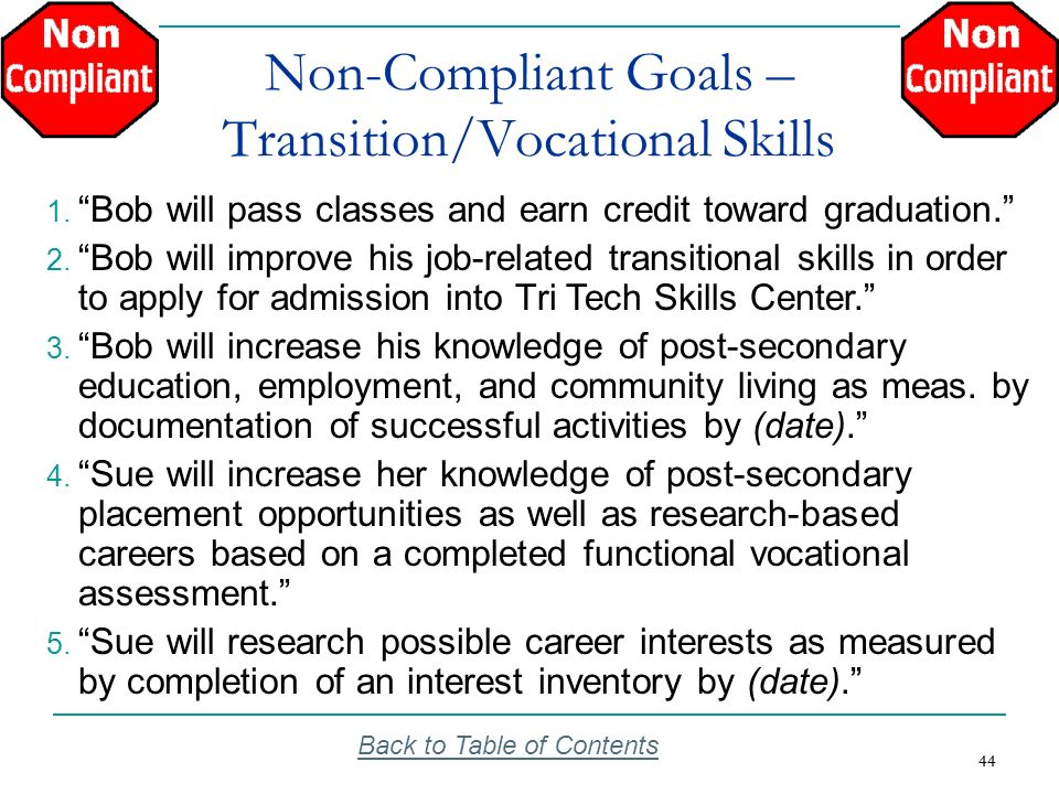 44 Non-Compliant Goals – Transition/Vocational Skills Back to Table of Contents 1. Bob will pass classes and earn credit toward graduation. 2. Bob wil