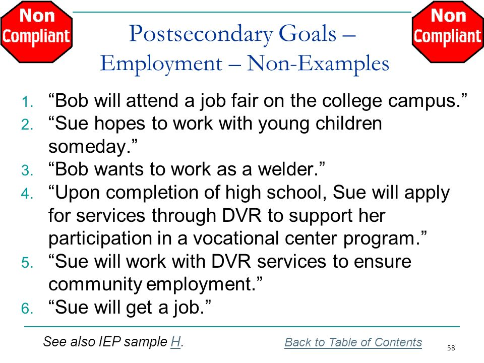 58 Postsecondary Goals – Employment – Non-Examples 1. Bob will attend a job fair on the college campus. 2. Sue hopes to work with young children somed