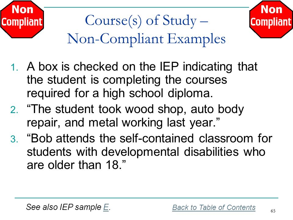 65 Course(s) of Study – Non-Compliant Examples 1. A box is checked on the IEP indicating that the student is completing the courses required for a hig