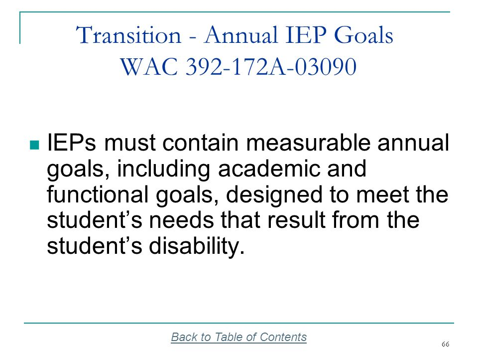 66 Transition - Annual IEP Goals WAC 392-172A-03090 IEPs must contain measurable annual goals, including academic and functional goals, designed to me