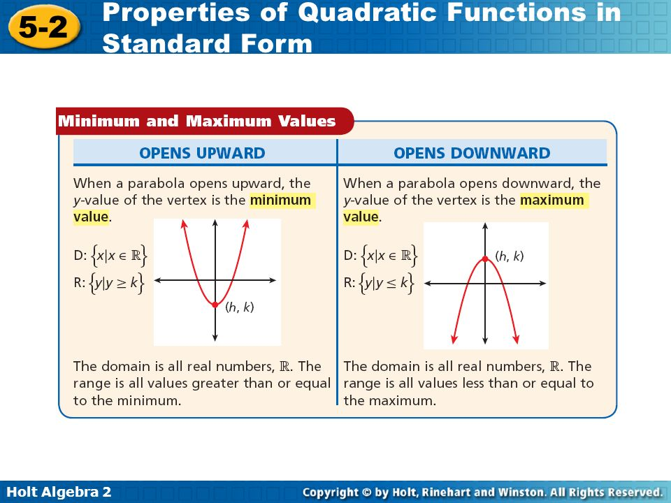 Holt Algebra 2 5-2 Properties of Quadratic Functions in Standard Form