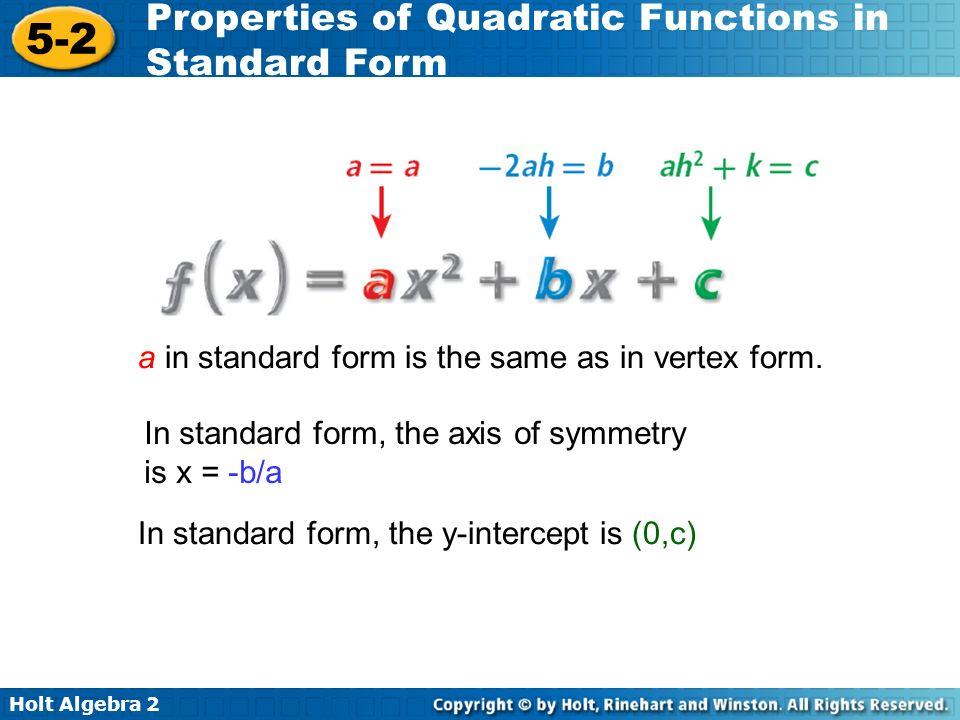 Holt Algebra 2 5-2 Properties of Quadratic Functions in Standard Form Find the minimum or maximum value of f(x) = x 2 – 6x + 3.