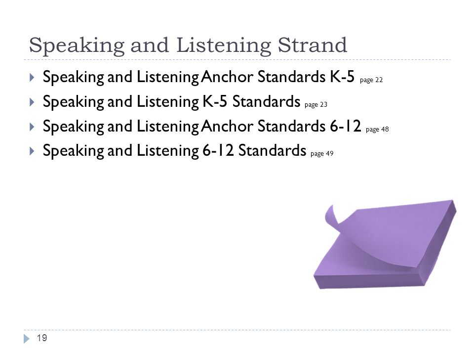 Speaking and Listening Strand Speaking and Listening Anchor Standards K-5 page 22 Speaking and Listening K-5 Standards page 23 Speaking and Listening
