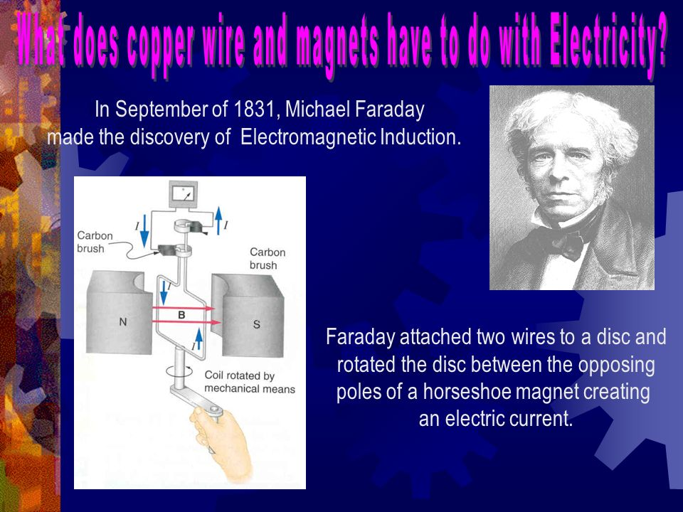 In September of 1831, Michael Faraday made the discovery of Electromagnetic Induction. Faraday attached two wires to a disc and rotated the disc betwe