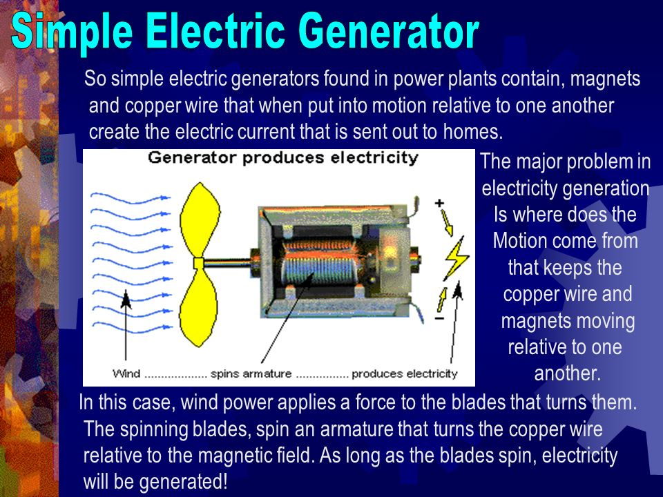 So simple electric generators found in power plants contain, magnets and copper wire that when put into motion relative to one another create the elec