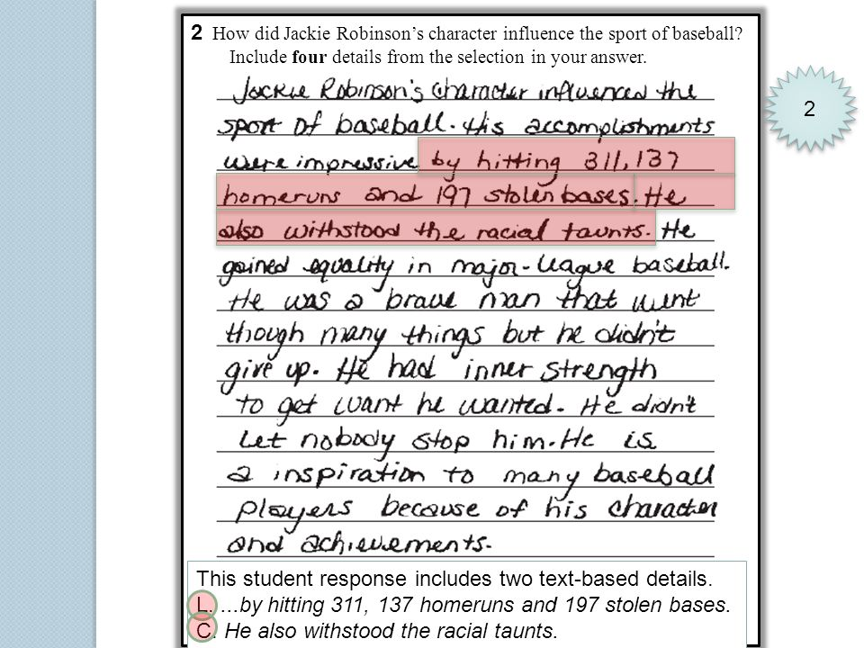 2 How did Jackie Robinsons character influence the sport of baseball? Include four details from the selection in your answer. 2 2 This student respons