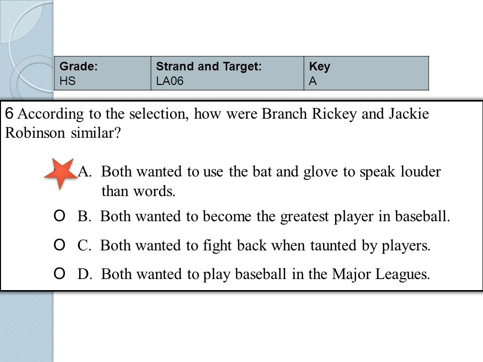 6 According to the selection, how were Branch Rickey and Jackie Robinson similar? O A. Both wanted to use the bat and glove to speak louder than words