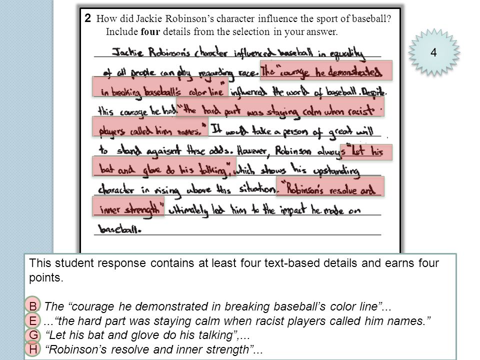 2 How did Jackie Robinsons character influence the sport of baseball? Include four details from the selection in your answer. 4 4 This student respons