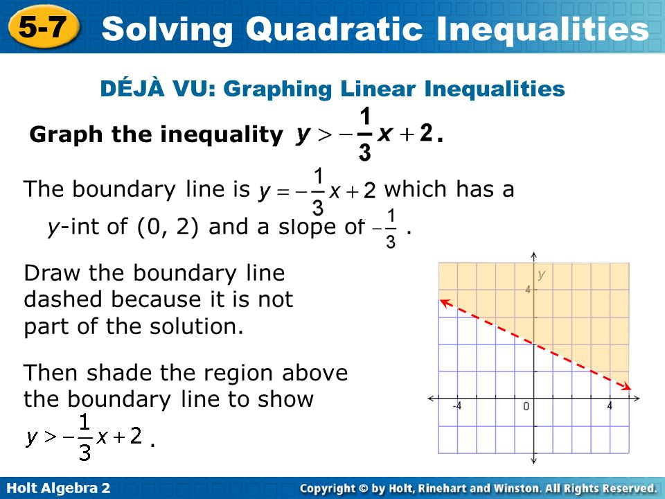 Holt Algebra 2 5-7 Solving Quadratic Inequalities Earlier we solved linear inequalities in two variables by graphing.