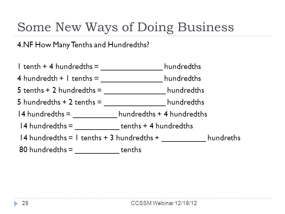 Some New Ways of Doing Business 4.NF How Many Tenths and Hundredths.