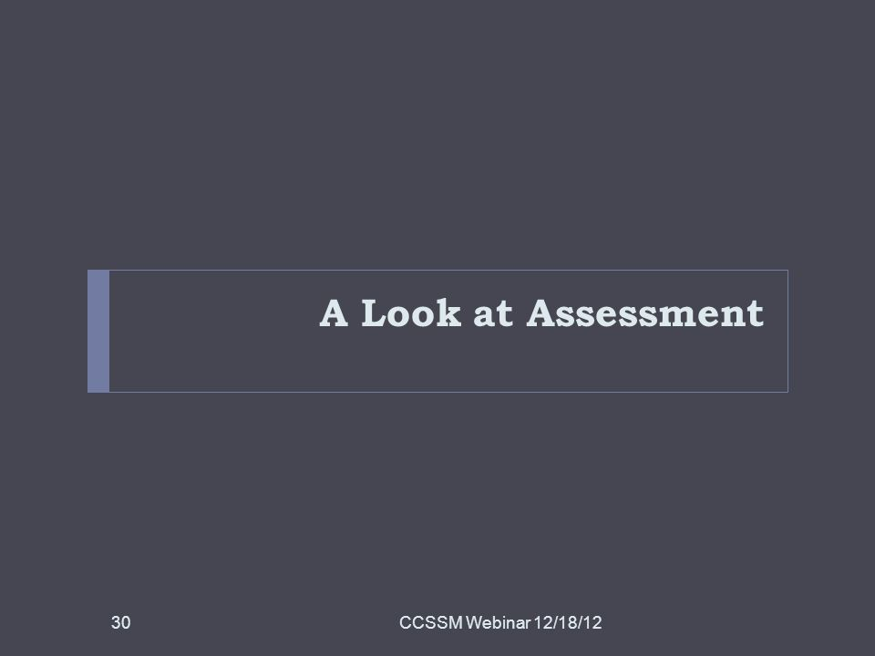 A Look at Assessment CCSSM Webinar 12/18/1230
