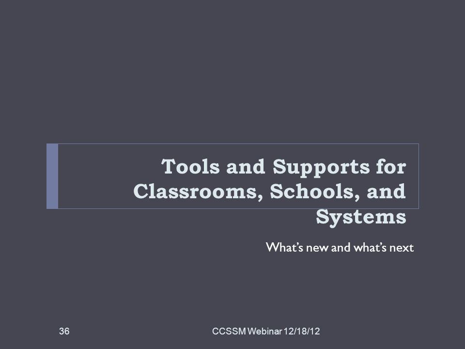 Tools and Supports for Classrooms, Schools, and Systems Whats new and whats next CCSSM Webinar 12/18/1236