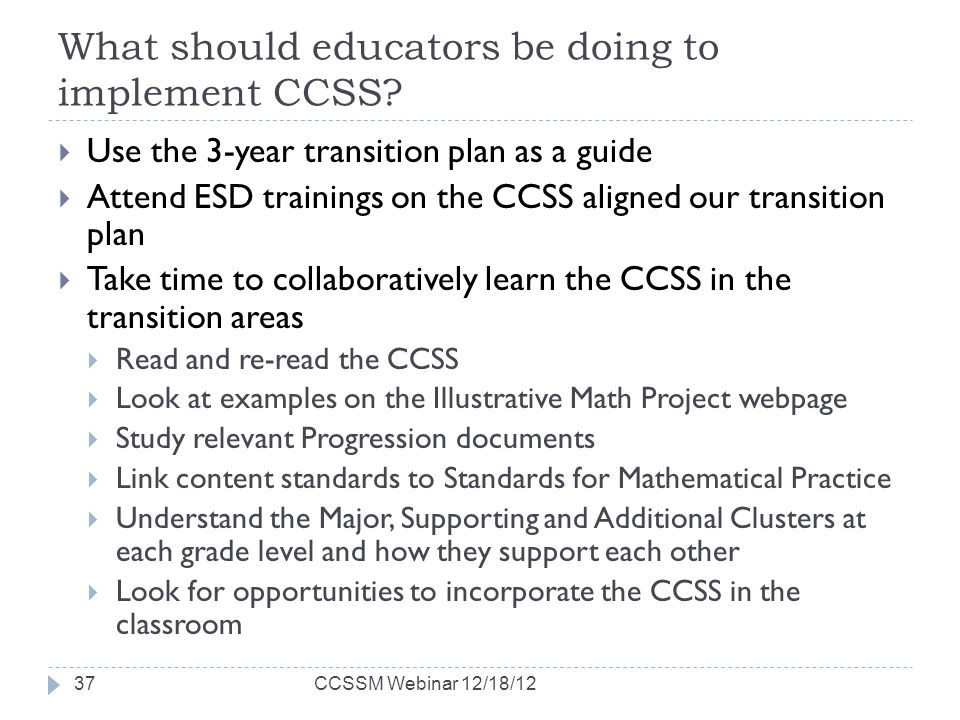 What should educators be doing to implement CCSS.