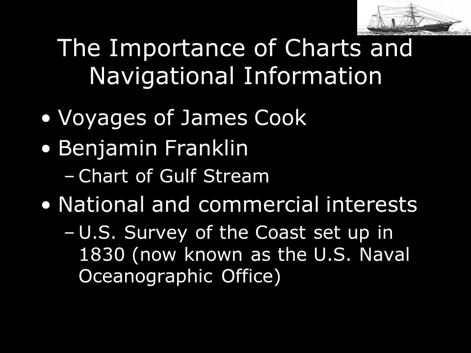 The Importance of Charts and Navigational Information Voyages of James Cook Benjamin Franklin –Chart of Gulf Stream National and commercial interests –U.S.