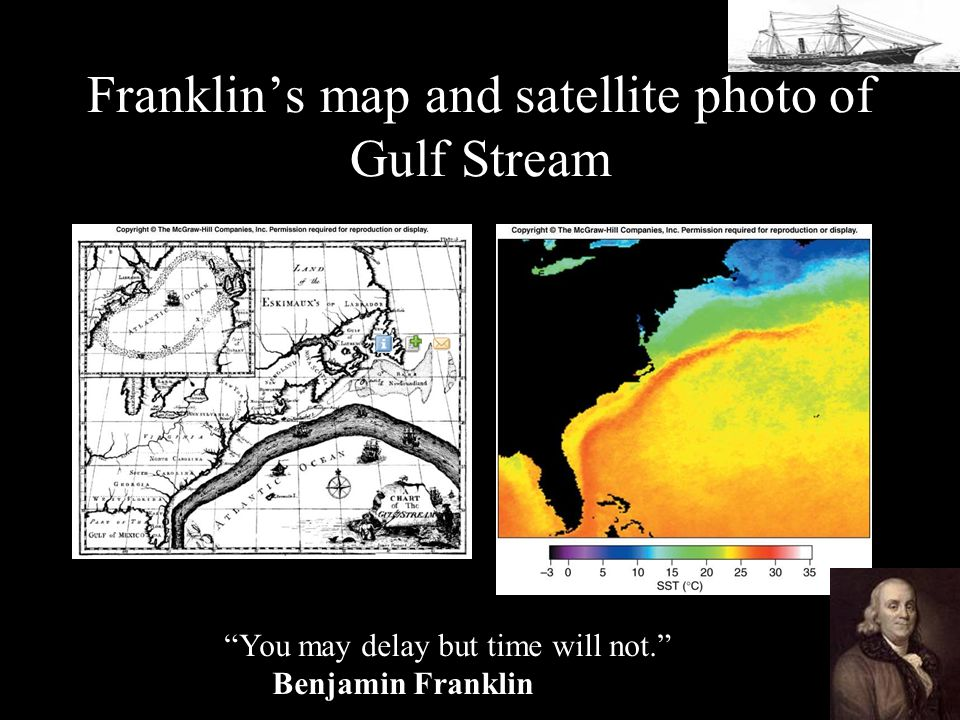 Franklins map and satellite photo of Gulf Stream You may delay but time will not. Benjamin Franklin