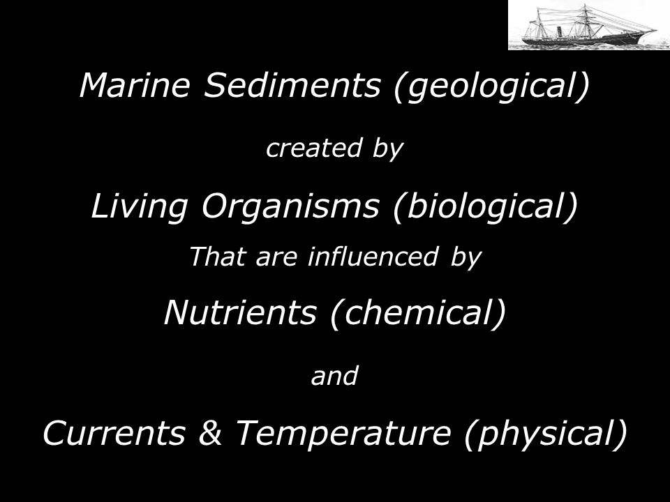 Marine Sediments (geological) created by Living Organisms (biological) That are influenced by Nutrients (chemical) and Currents & Temperature (physical)