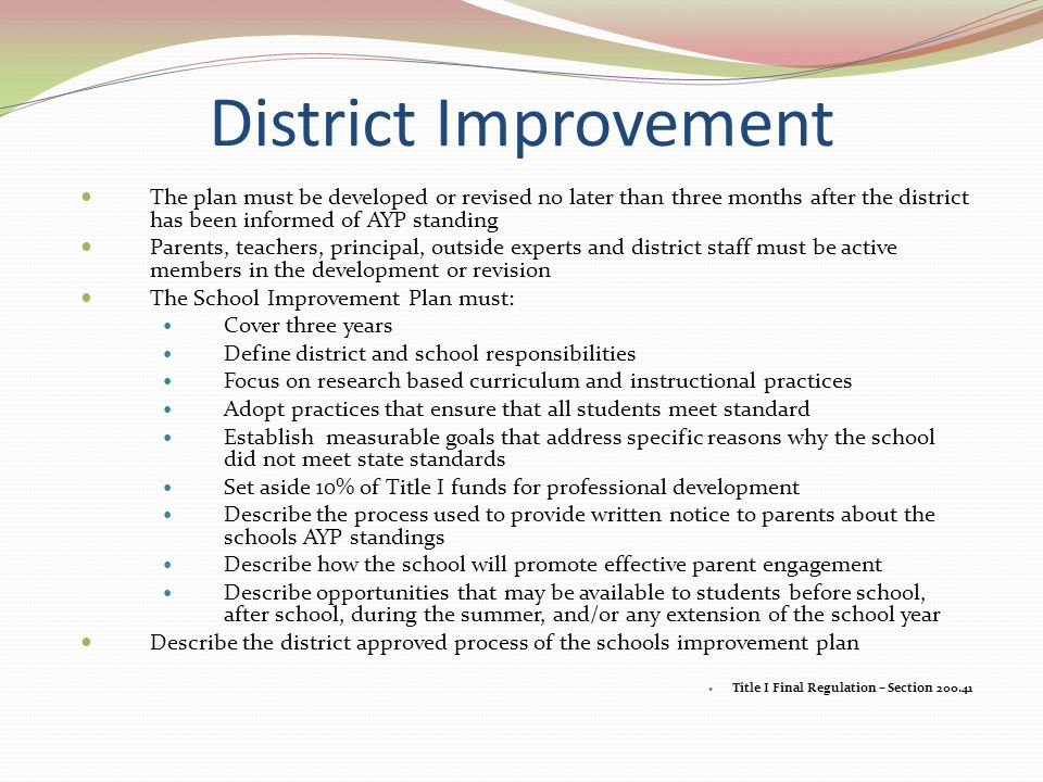 District Improvement The plan must be developed or revised no later than three months after the district has been informed of AYP standing Parents, teachers, principal, outside experts and district staff must be active members in the development or revision The School Improvement Plan must: Cover three years Define district and school responsibilities Focus on research based curriculum and instructional practices Adopt practices that ensure that all students meet standard Establish measurable goals that address specific reasons why the school did not meet state standards Set aside 10% of Title I funds for professional development Describe the process used to provide written notice to parents about the schools AYP standings Describe how the school will promote effective parent engagement Describe opportunities that may be available to students before school, after school, during the summer, and/or any extension of the school year Describe the district approved process of the schools improvement plan Title I Final Regulation – Section 200.41