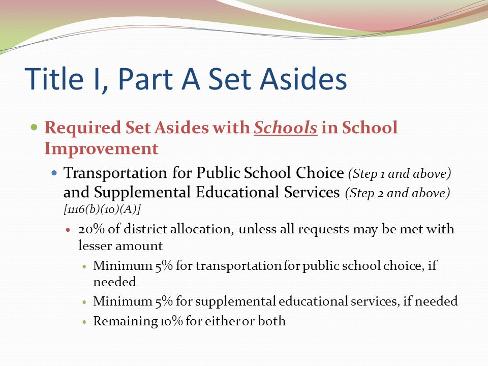 Eligible Students Eligible students are all students from low-income families who attend Title I schools that are in their second year of school improvement, in corrective action, or in restructuring.