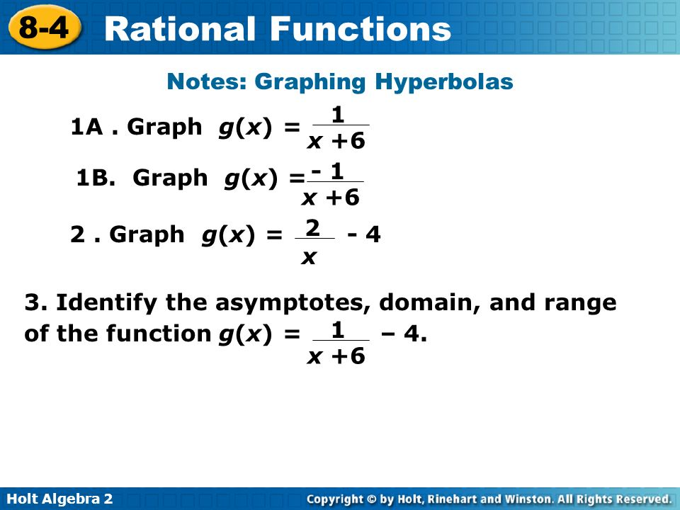 Holt Algebra 2 8-4 Rational Functions 1A. Graph g(x) = Notes: Graphing Hyperbolas 1 x +6 1B. Graph g(x) = - 1 x +6 2 x 2. Graph g(x) = - 4 3. Identify