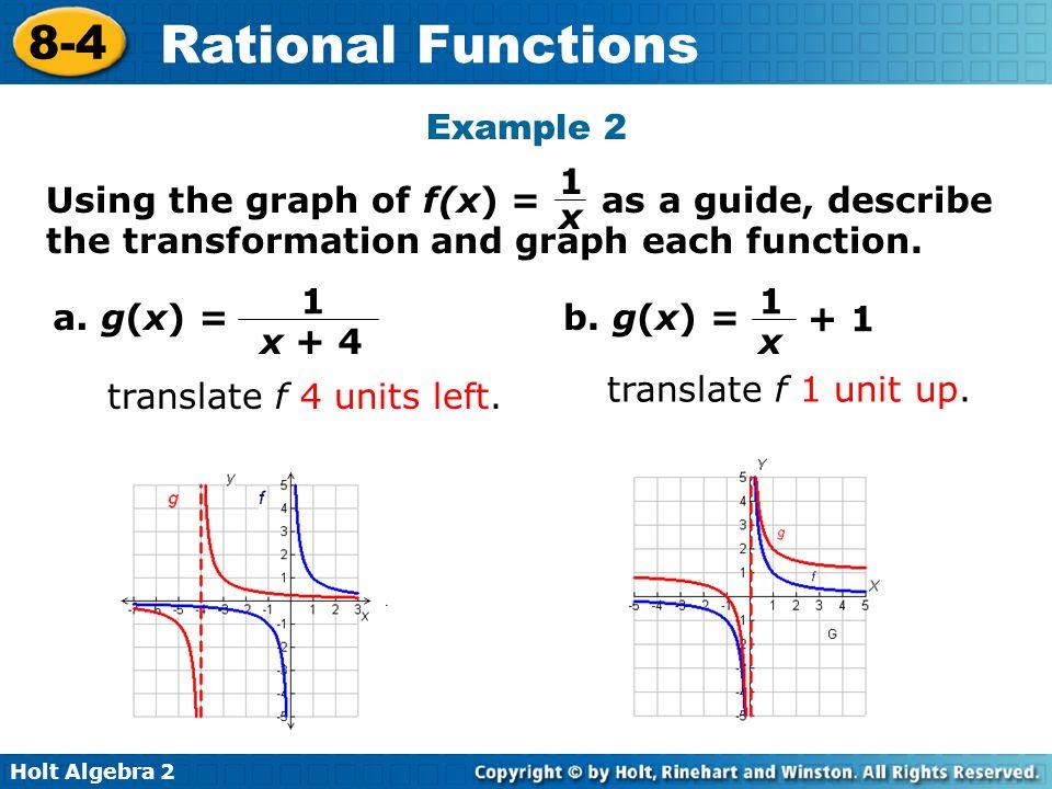 Holt Algebra 2 8-4 Rational Functions Example 2 a. g(x) = translate f 4 units left. 1 x + 4 b. g(x) = translate f 1 unit up. 1 x + 1 Using the graph o