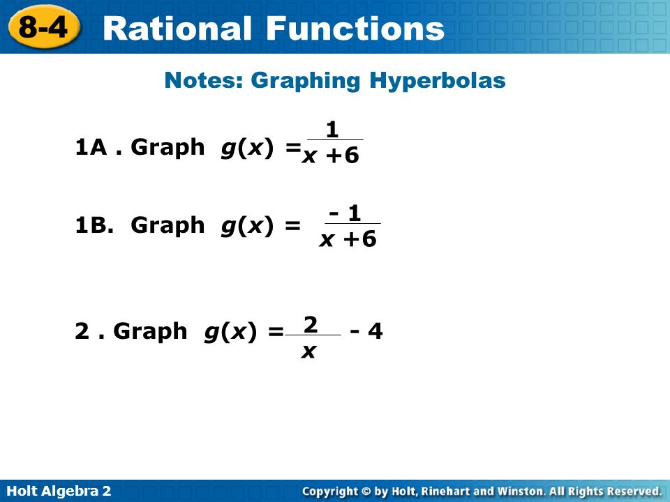 Holt Algebra 2 8-4 Rational Functions 1A. Graph g(x) = Notes: Graphing Hyperbolas 1 x +6 1B. Graph g(x) = - 1 x +6 2 x 2. Graph g(x) = - 4