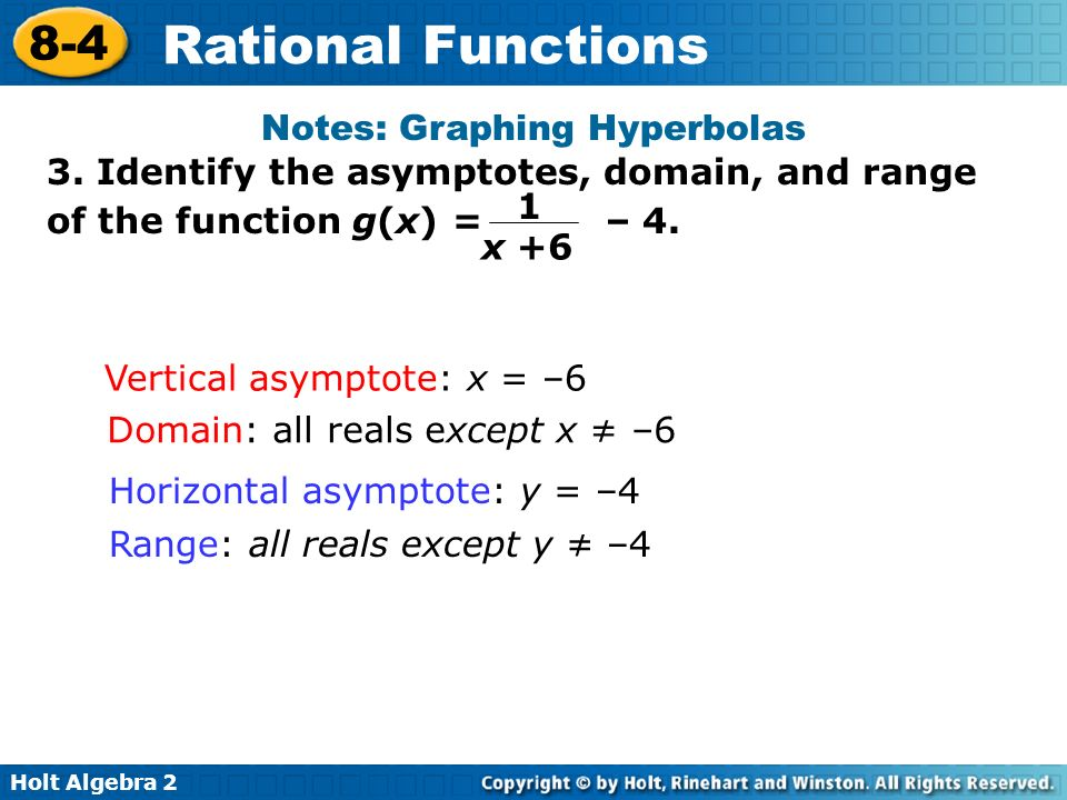 Holt Algebra 2 8-4 Rational Functions 3. Identify the asymptotes, domain, and range of the function g(x) = – 4. Notes: Graphing Hyperbolas Vertical as