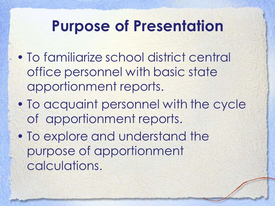 Level of Presentation...