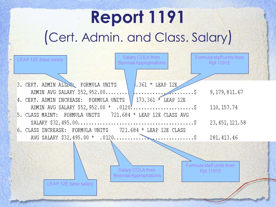 Report 1191 ( Cert. Admin. and Class. Salary ) LEAP 12E base salary Formula staff units from Rpt 1191E LEAP 12E base salary Salary COLA from Biennial