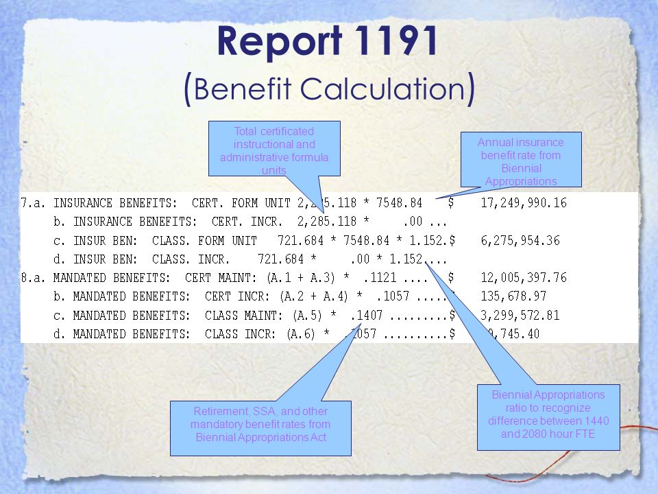 Report 1191 ( Benefit Calculation ) Total certificated instructional and administrative formula units Annual insurance benefit rate from Biennial Appr