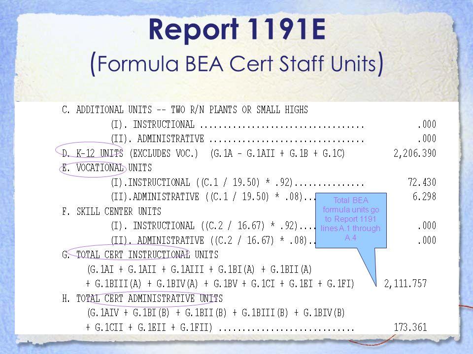 Total BEA formula units go to Report 1191 lines A.1 through A.4