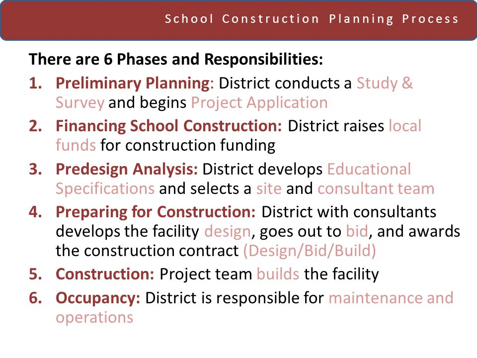 School Construction Planning Process There are 6 Phases and Responsibilities: 1.Preliminary Planning: District conducts a Study & Survey and begins Project Application 2.Financing School Construction: District raises local funds for construction funding 3.Predesign Analysis: District develops Educational Specifications and selects a site and consultant team 4.Preparing for Construction: District with consultants develops the facility design, goes out to bid, and awards the construction contract (Design/Bid/Build) 5.Construction: Project team builds the facility 6.Occupancy: District is responsible for maintenance and operations