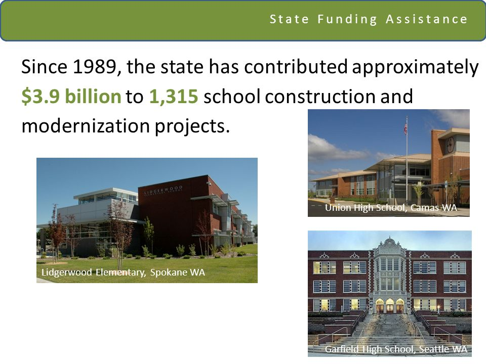 State Funding Assistance Since 1989, the state has contributed approximately $3.9 billion to 1,315 school construction and modernization projects. Uni