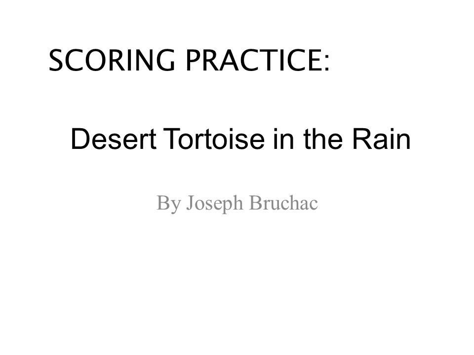 Desert Tortoise in the Rain By Joseph Bruchac SCORING PRACTICE: