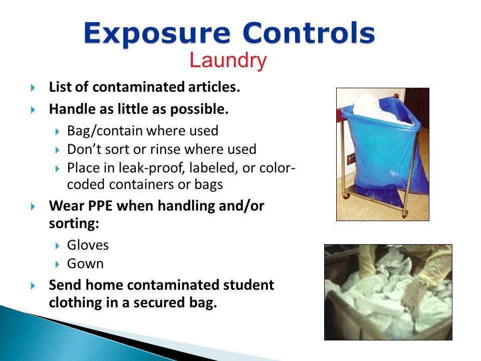 List of contaminated articles. Handle as little as possible. Bag/contain where used Dont sort or rinse where used Place in leak-proof, labeled, or col