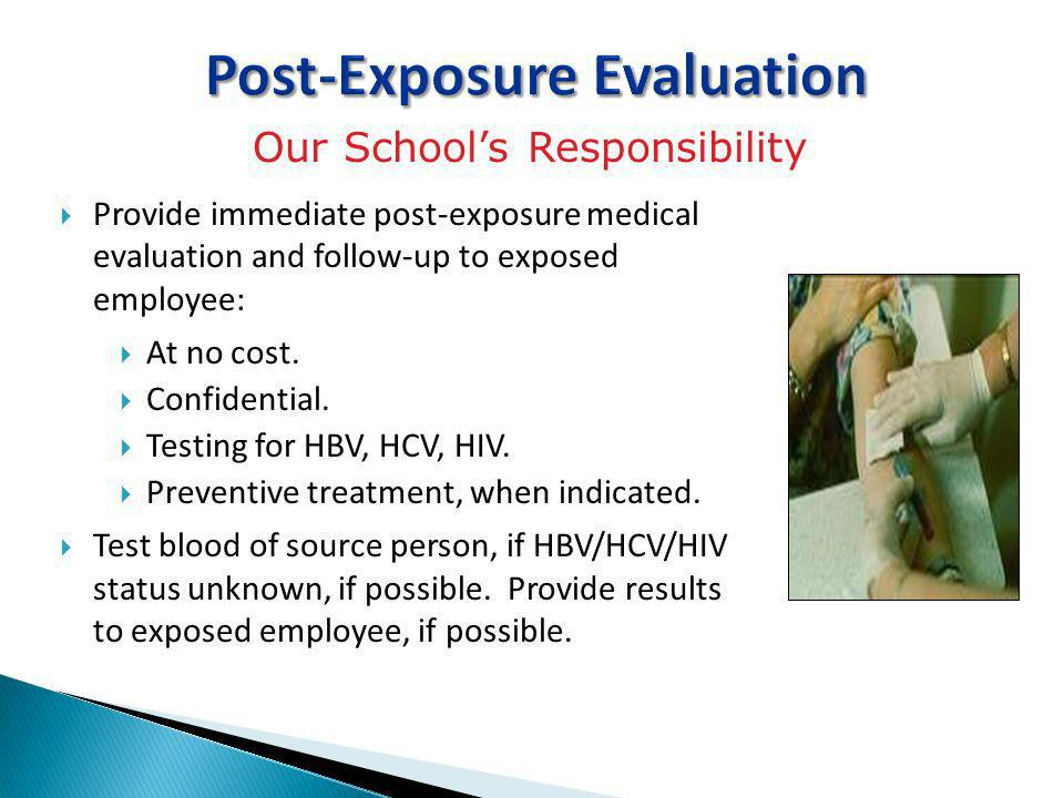 Post-Exposure Evaluation Provide immediate post-exposure medical evaluation and follow-up to exposed employee: At no cost. Confidential. Testing for H