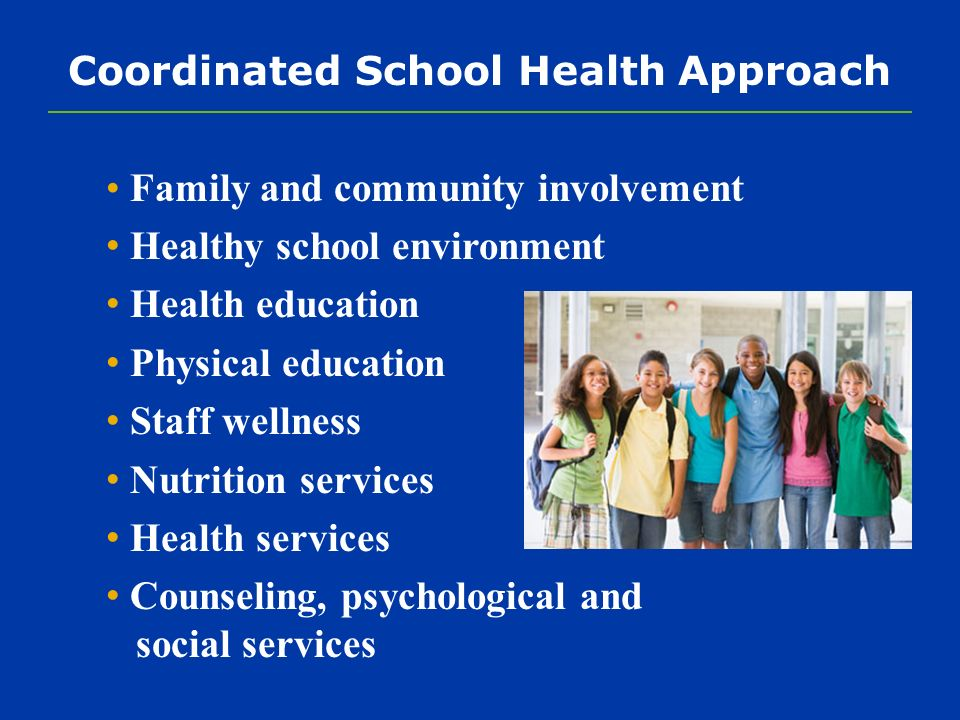 Coordinated School Health Approach Family and community involvement Healthy school environment Health education Physical education Staff wellness Nutrition services Health services Counseling, psychological and social services