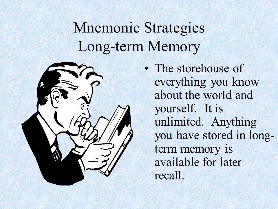 Mnemonic Strategies Short-term Memory This is transient working memory.
