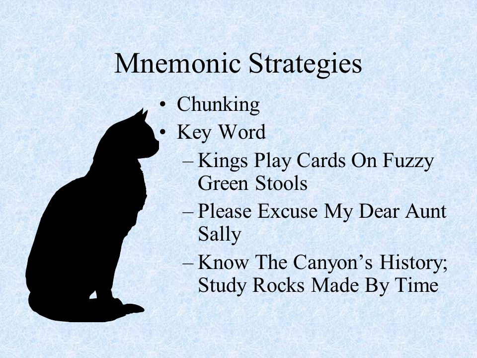 Mnemonic Strategies Chunking Key Word –Kings Play Cards On Fuzzy Green Stools –Please Excuse My Dear Aunt Sally –Know The Canyons History; Study Rocks