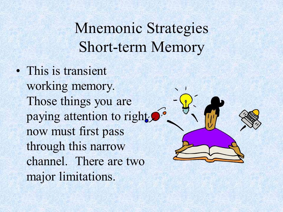 Mnemonic Strategies Chunking Key Word Method of Loci –Cicero
