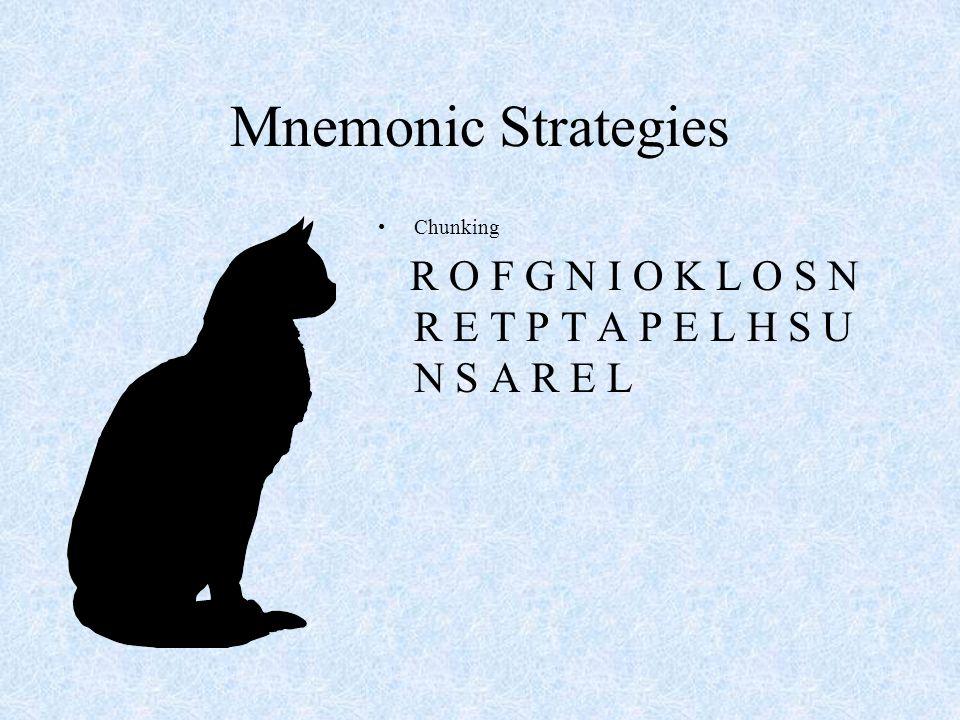 Mnemonic Strategies Chunking Key Word Method of Loci –Cicero –A Stroll through his village –Down Snoqualmies Main