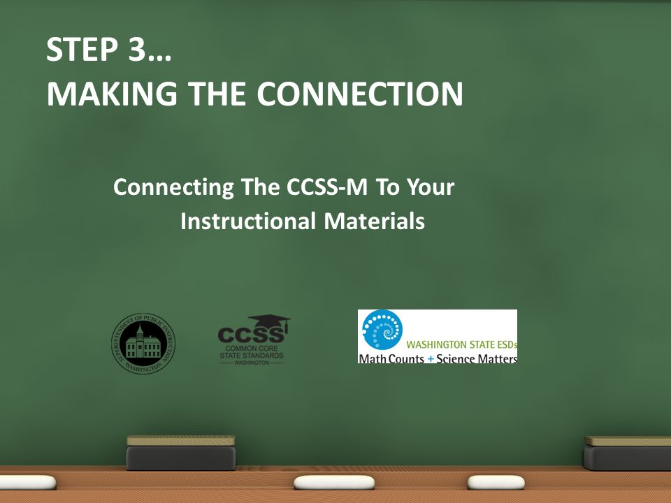 STEP 3… MAKING THE CONNECTION Connecting The CCSS-M To Your Instructional Materials