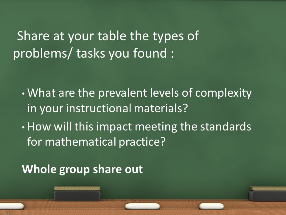 Share at your table the types of problems/ tasks you found : What are the prevalent levels of complexity in your instructional materials? How will thi