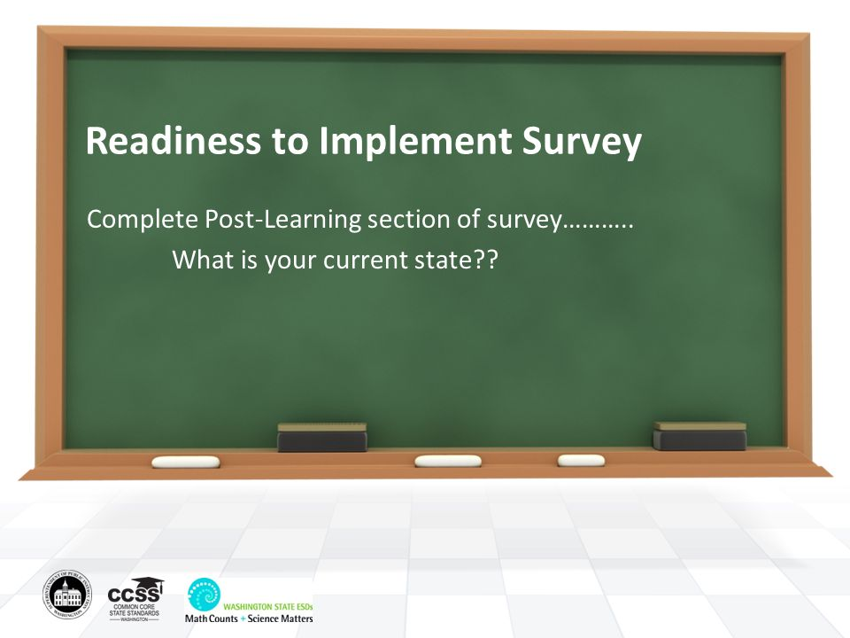 Readiness to Implement Survey Complete Post-Learning section of survey……….. What is your current state??