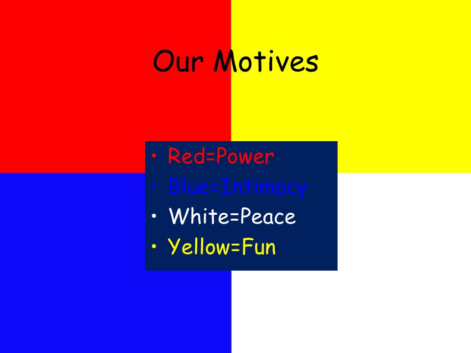 Our Motives Red=Power Blue=Intimacy White=Peace Yellow=Fun
