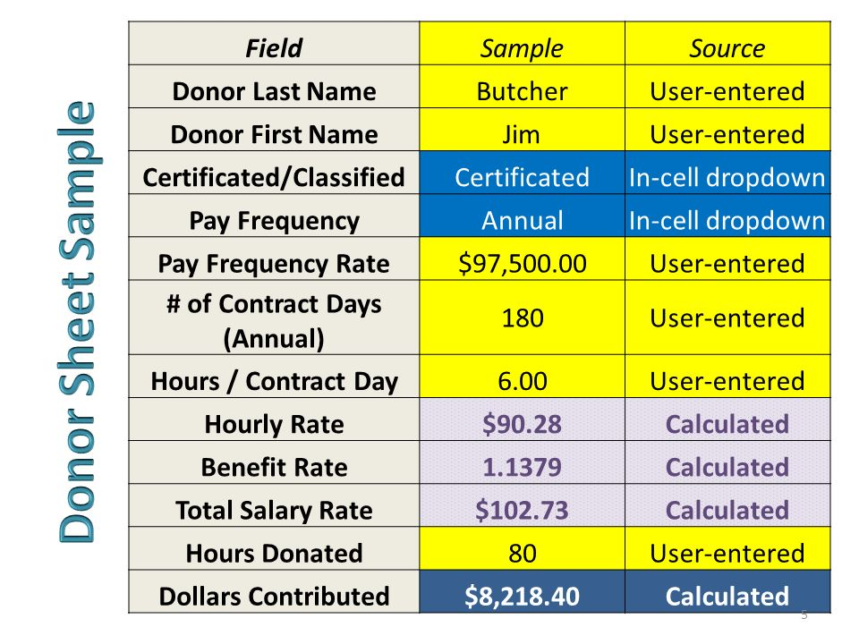 FieldSampleSource Donor Last NameButcherUser-entered Donor First NameJimUser-entered Certificated/ClassifiedCertificatedIn-cell dropdown Pay Frequency