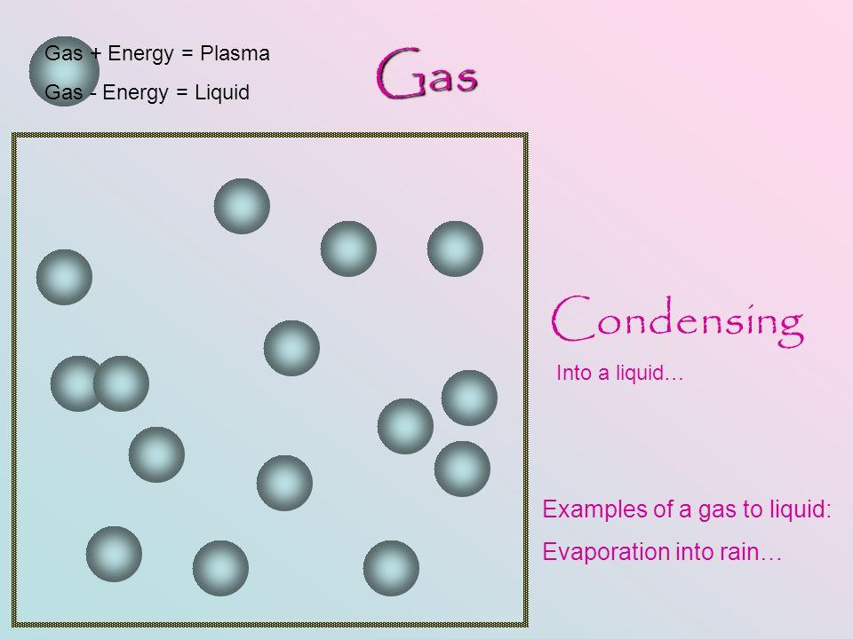 Gas Gas + Energy = Plasma Gas - Energy = Liquid Condensing Into a liquid… Examples of a gas to liquid: Evaporation into rain…