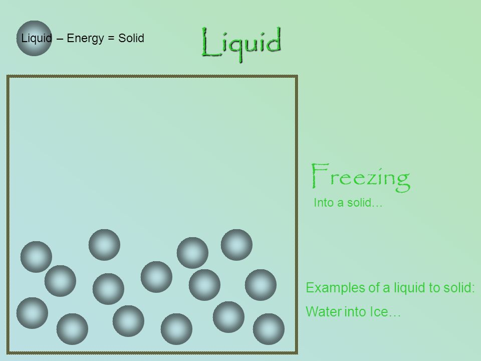 Liquid Liquid – Energy = Solid Freezing Into a solid… Examples of a liquid to solid: Water into Ice…