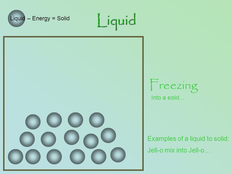 Liquid Liquid – Energy = Solid Freezing Into a solid… Examples of a liquid to solid: Jell-o mix into Jell-o…